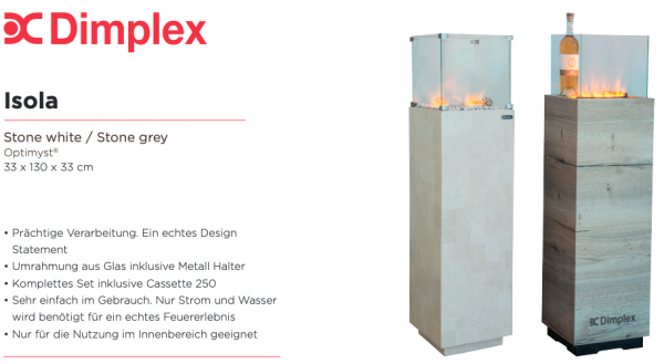 Dimplex Isola Stone Feuersäule - Kaminsäule mit Effektfeuereinsatz Cassette 250