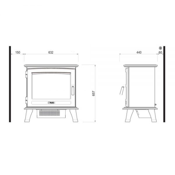 Dimplex Sunningdale Opti-Virtual Elektrokamin Skizze